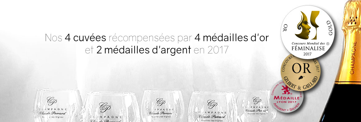 Champagne Claude PERRARD Medaille Or Argent Feminalises, Concours Lyon, Gilbert & Gaillard